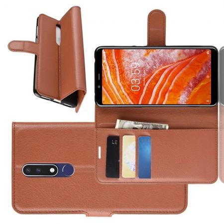 Флип чехол книжка с кошельком подставкой отделениями для карт и магнитной застежкой для Nokia 3.1 Plus Коричневый