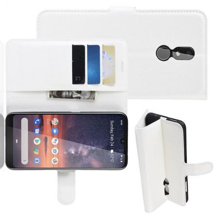 Флип чехол книжка с кошельком подставкой отделениями для карт и магнитной застежкой для Nokia 3.2 Белый