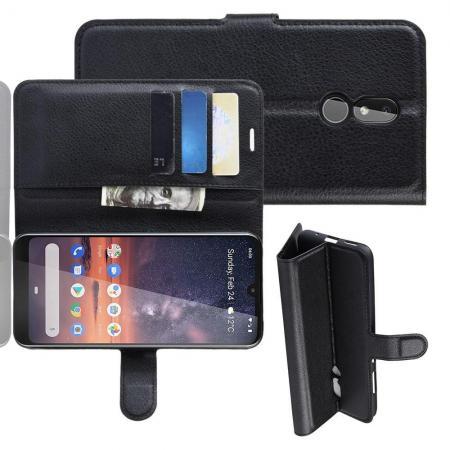 Флип чехол книжка с кошельком подставкой отделениями для карт и магнитной застежкой для Nokia 3.2 Черный