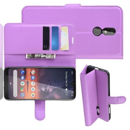 Флип чехол книжка с кошельком подставкой отделениями для карт и магнитной застежкой для Nokia 3.2 Фиолетовый