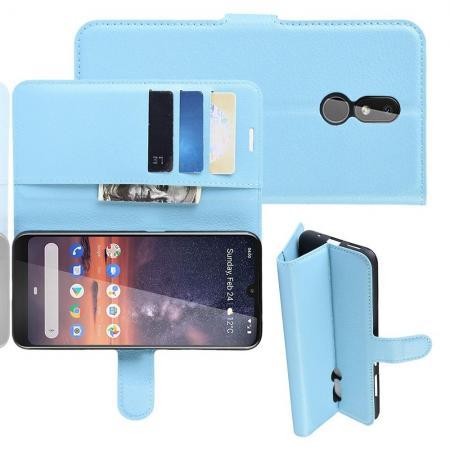 Флип чехол книжка с кошельком подставкой отделениями для карт и магнитной застежкой для Nokia 3.2 Голубой