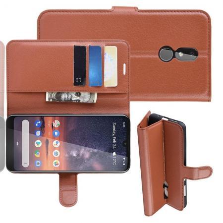Флип чехол книжка с кошельком подставкой отделениями для карт и магнитной застежкой для Nokia 3.2 Коричневый