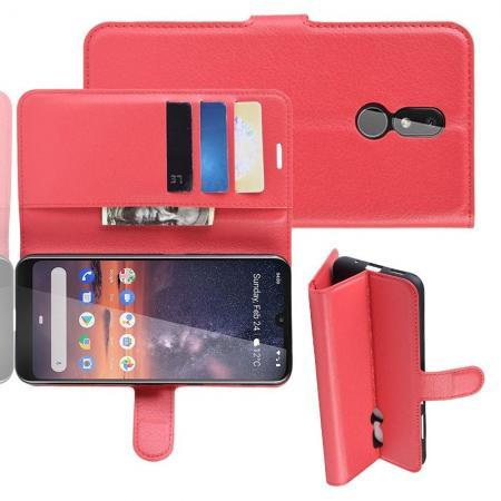 Флип чехол книжка с кошельком подставкой отделениями для карт и магнитной застежкой для Nokia 3.2 Красный
