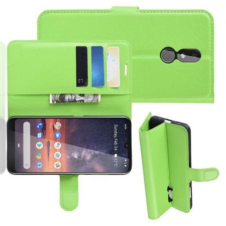 Флип чехол книжка с кошельком подставкой отделениями для карт и магнитной застежкой для Nokia 3.2 Зеленый