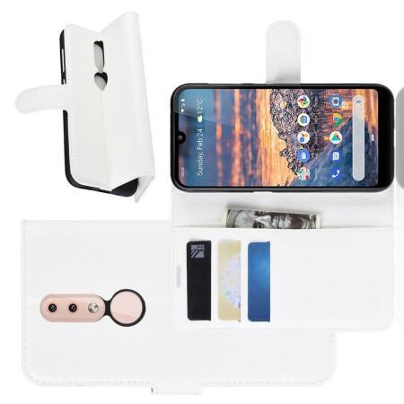 Флип чехол книжка с кошельком подставкой отделениями для карт и магнитной застежкой для Nokia 4.2 Белый