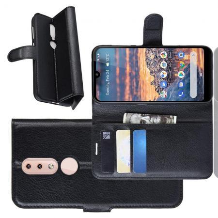 Флип чехол книжка с кошельком подставкой отделениями для карт и магнитной застежкой для Nokia 4.2 Черный