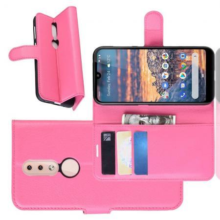 Флип чехол книжка с кошельком подставкой отделениями для карт и магнитной застежкой для Nokia 4.2 Розовый