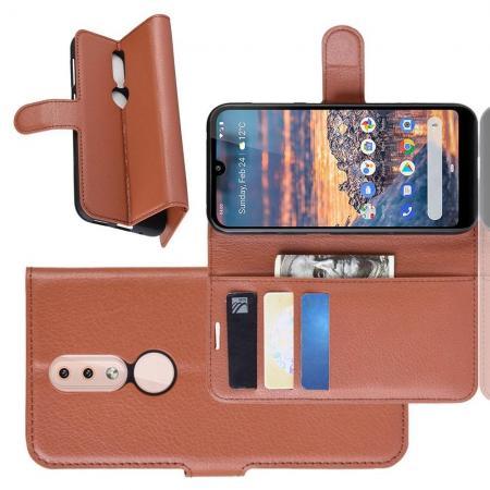 Флип чехол книжка с кошельком подставкой отделениями для карт и магнитной застежкой для Nokia 4.2 Коричневый