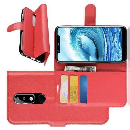 Флип чехол книжка с кошельком подставкой отделениями для карт и магнитной застежкой для Nokia 5.1 Plus Красный
