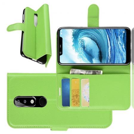 Флип чехол книжка с кошельком подставкой отделениями для карт и магнитной застежкой для Nokia 5.1 Plus Зеленый