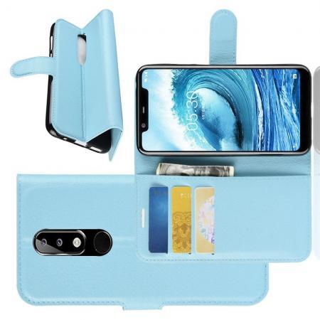Флип чехол книжка с кошельком подставкой отделениями для карт и магнитной застежкой для Nokia 5.1 Plus Голубой