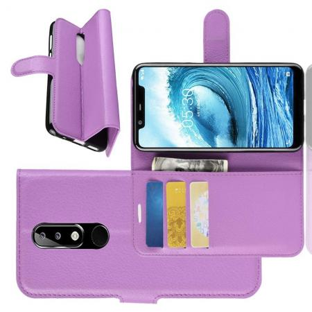 Флип чехол книжка с кошельком подставкой отделениями для карт и магнитной застежкой для Nokia 5.1 Plus Фиолетовый