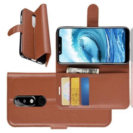Флип чехол книжка с кошельком подставкой отделениями для карт и магнитной застежкой для Nokia 5.1 Plus Коричневый