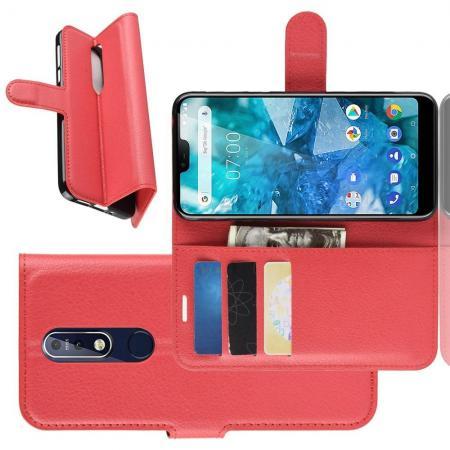 Флип чехол книжка с кошельком подставкой отделениями для карт и магнитной застежкой для Nokia 7.1 Красный