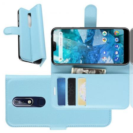 Флип чехол книжка с кошельком подставкой отделениями для карт и магнитной застежкой для Nokia 7.1 Голубой