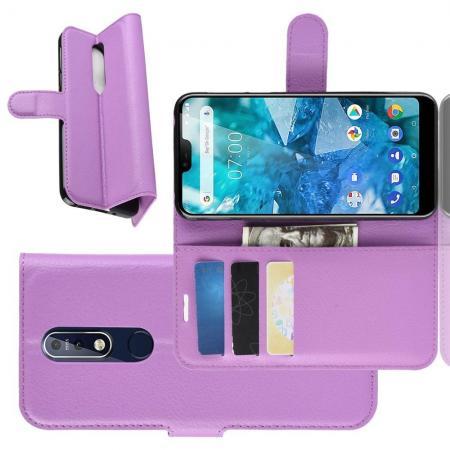 Флип чехол книжка с кошельком подставкой отделениями для карт и магнитной застежкой для Nokia 7.1 Фиолетовый