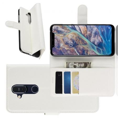 Флип чехол книжка с кошельком подставкой отделениями для карт и магнитной застежкой для Nokia 8.1 Белый
