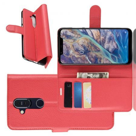 Флип чехол книжка с кошельком подставкой отделениями для карт и магнитной застежкой для Nokia 8.1 Красный