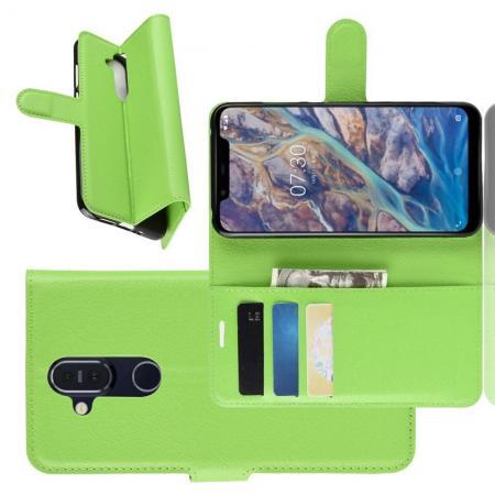 Флип чехол книжка с кошельком подставкой отделениями для карт и магнитной застежкой для Nokia 8.1 Зеленый