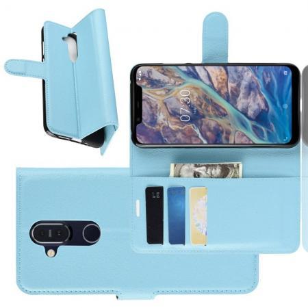 Флип чехол книжка с кошельком подставкой отделениями для карт и магнитной застежкой для Nokia 8.1 Голубой