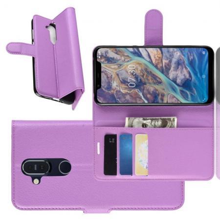 Флип чехол книжка с кошельком подставкой отделениями для карт и магнитной застежкой для Nokia 8.1 Фиолетовый