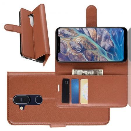 Флип чехол книжка с кошельком подставкой отделениями для карт и магнитной застежкой для Nokia 8.1 Коричневый