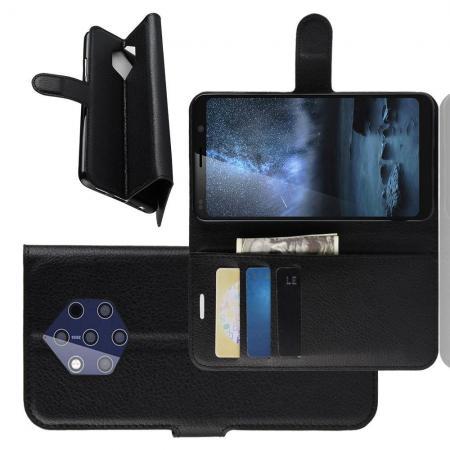 Флип чехол книжка с кошельком подставкой отделениями для карт и магнитной застежкой для Nokia 9 PureView Черный