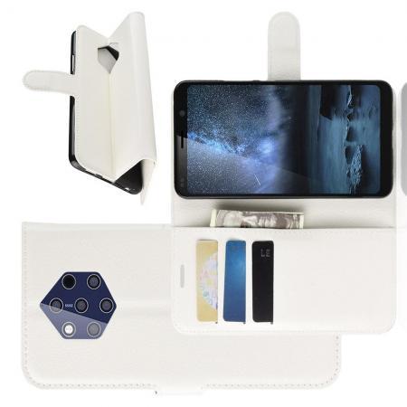 Флип чехол книжка с кошельком подставкой отделениями для карт и магнитной застежкой для Nokia 9 PureView Белый