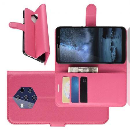 Флип чехол книжка с кошельком подставкой отделениями для карт и магнитной застежкой для Nokia 9 PureView Розовый