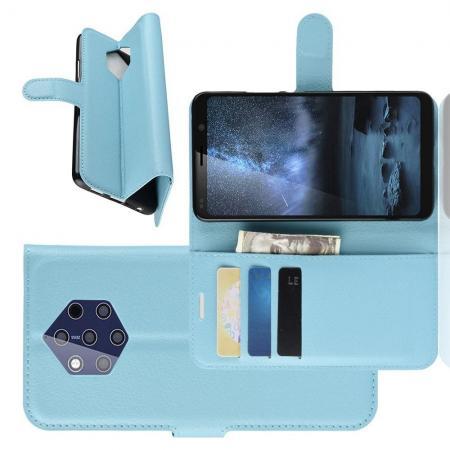 Флип чехол книжка с кошельком подставкой отделениями для карт и магнитной застежкой для Nokia 9 PureView Голубой