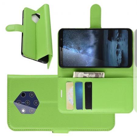 Флип чехол книжка с кошельком подставкой отделениями для карт и магнитной застежкой для Nokia 9 PureView Зеленый