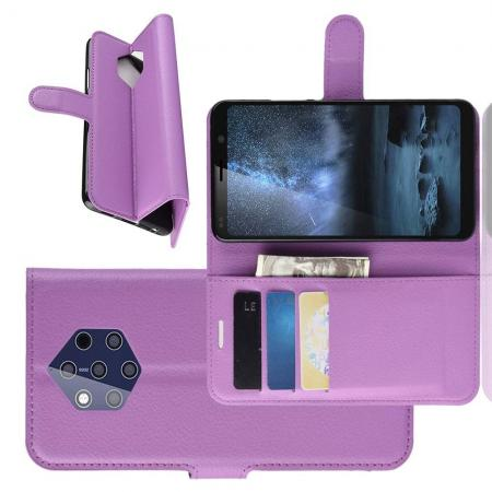 Флип чехол книжка с кошельком подставкой отделениями для карт и магнитной застежкой для Nokia 9 PureView Фиолетовый