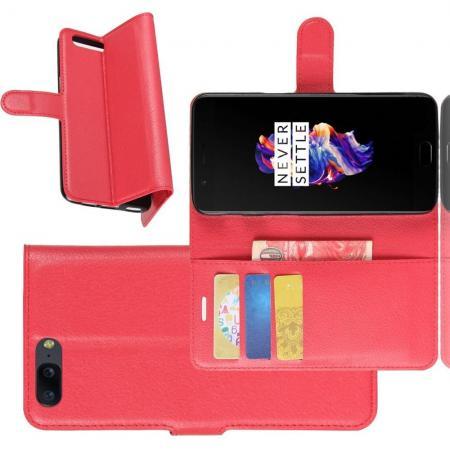 Флип чехол книжка с кошельком подставкой отделениями для карт и магнитной застежкой для oneplus 5 Красный