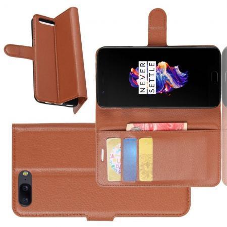 Флип чехол книжка с кошельком подставкой отделениями для карт и магнитной застежкой для oneplus 5 Коричневый