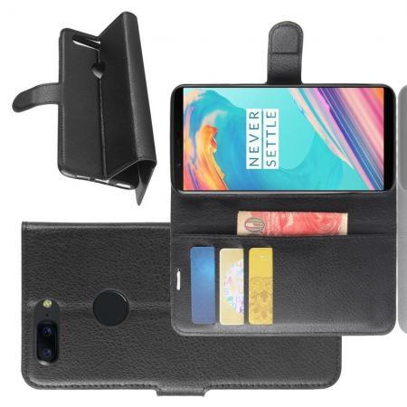 Флип чехол книжка с кошельком подставкой отделениями для карт и магнитной застежкой для OnePlus 5T Черный