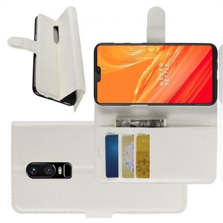 Флип чехол книжка с кошельком подставкой отделениями для карт и магнитной застежкой для OnePlus 6 Белый