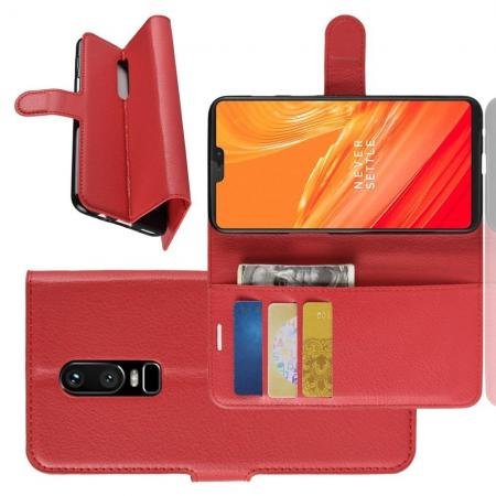Флип чехол книжка с кошельком подставкой отделениями для карт и магнитной застежкой для OnePlus 6 Красный