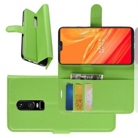 Флип чехол книжка с кошельком подставкой отделениями для карт и магнитной застежкой для OnePlus 6 Зеленый