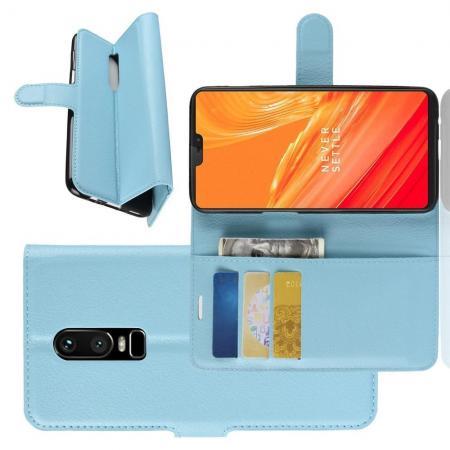 Флип чехол книжка с кошельком подставкой отделениями для карт и магнитной застежкой для OnePlus 6 Голубой
