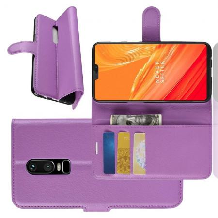 Флип чехол книжка с кошельком подставкой отделениями для карт и магнитной застежкой для OnePlus 6 Фиолетовый