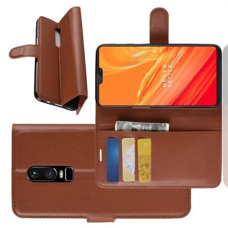 Флип чехол книжка с кошельком подставкой отделениями для карт и магнитной застежкой для OnePlus 6 Коричневый