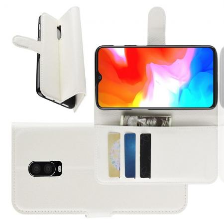 Флип чехол книжка с кошельком подставкой отделениями для карт и магнитной застежкой для Oneplus 6T Белый