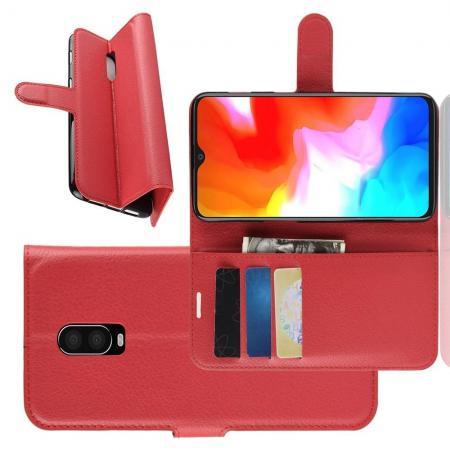 Флип чехол книжка с кошельком подставкой отделениями для карт и магнитной застежкой для Oneplus 6T Красный