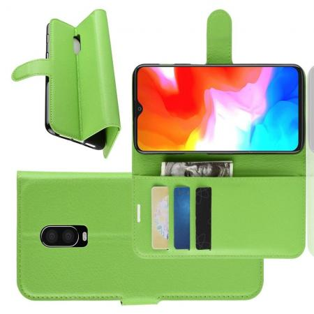 Флип чехол книжка с кошельком подставкой отделениями для карт и магнитной застежкой для Oneplus 6T Зеленый