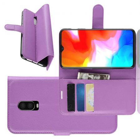 Флип чехол книжка с кошельком подставкой отделениями для карт и магнитной застежкой для Oneplus 6T Фиолетовый