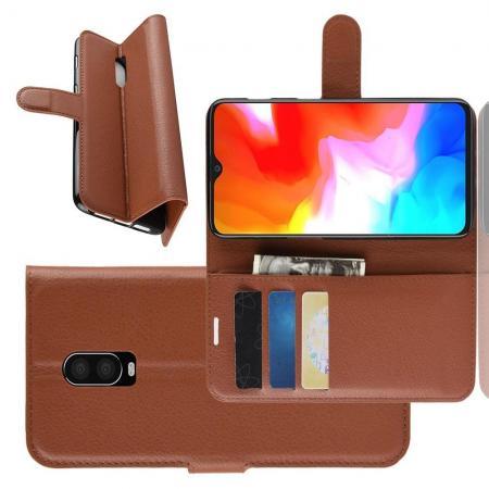 Флип чехол книжка с кошельком подставкой отделениями для карт и магнитной застежкой для Oneplus 6T Коричневый