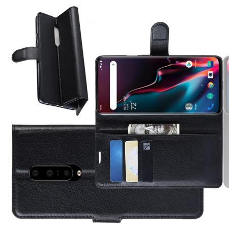 Флип чехол книжка с кошельком подставкой отделениями для карт и магнитной застежкой для OnePlus 7 Pro Черный