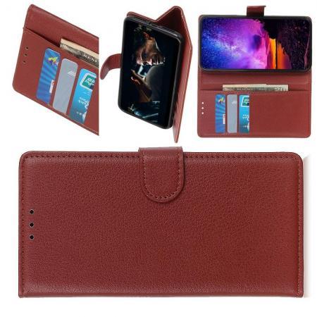 Флип чехол книжка с кошельком подставкой отделениями для карт и магнитной застежкой для Samsung Galaxy A10e Коричневый