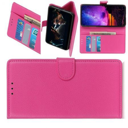 Флип чехол книжка с кошельком подставкой отделениями для карт и магнитной застежкой для Samsung Galaxy A10e Розовый