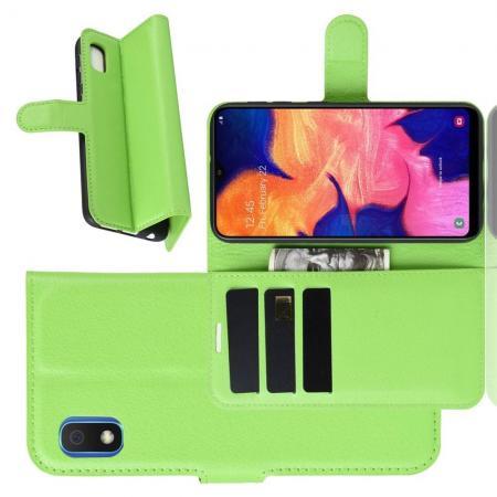 Флип чехол книжка с кошельком подставкой отделениями для карт и магнитной застежкой для Samsung Galaxy A10e Зеленый